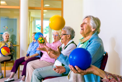 group of seniors doing exercise